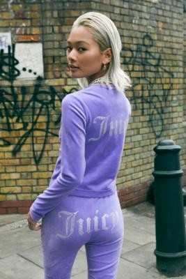 Juicy Couture UO Exclusive Dusky Lilac Velour Rhinestone Cardigan - Purple XS at Urban Outfitters