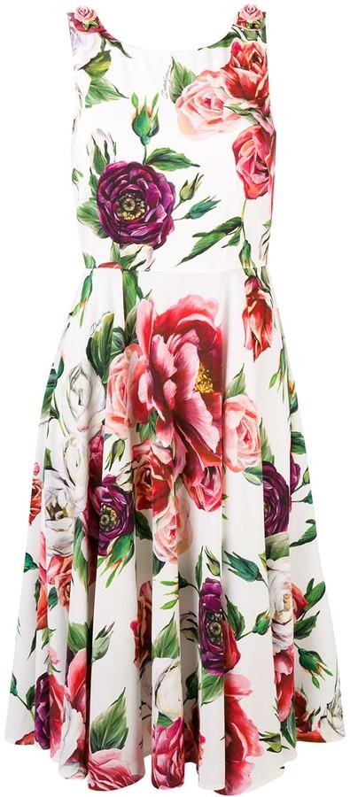 Dolce & Gabbana sleeveless peony print dress