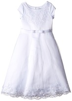 Us Angels Satin Embroidered Netting Cap Sleeve A-Line Dress Girl's Dress