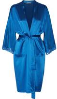 Stella McCartney Eloise Enchanting Lace-Trimmed Silk-Blend Satin Robe