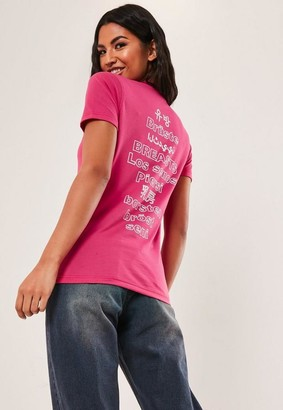 Missguided Cancer Awareness Pink Back Graphic T Shirt