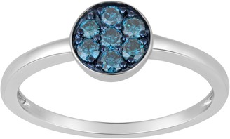 Jewelili Sterling Silver Diamond Ring