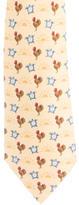 Hermes Rooster Print Silk Tie