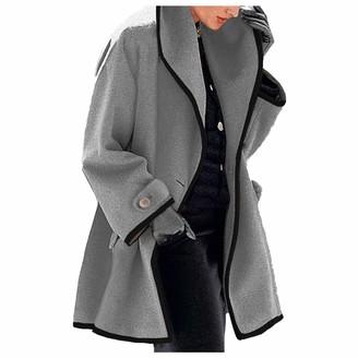 BUKINIE Women's Lapel Open Front Wrap Wool Coat Classic Trench Wool Blend Pea Coat Warm Winter Long Jackets Overcoat Outwear(Grey 3X-Large)