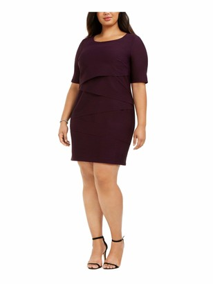 Connected Apparel Womens Purple Textured Short Sleeve Jewel Neck Above The Knee Sheath Wear to Work Dress Plus US Size: 24W