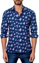 Jared Lang Heart-Print Sport Shirt, Blue