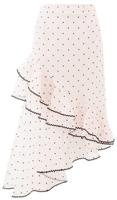 Erdem Antoinette Polka-dot Ruffled Silk-blend Skirt - Light Pink