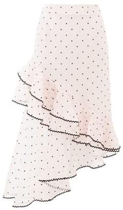 Erdem Antoinette Polka-dot Ruffled Silk-blend Skirt - Womens - Light Pink