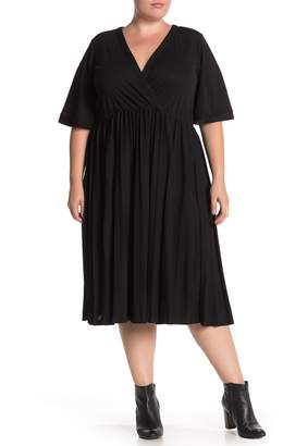 ELOQUII Wrap Top Pleated Skirt Dress (Plus Size)