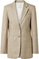 Tibi Cooper Oversized Prince Of Wales Checked Wool And Silk-blend Blazer - Beige