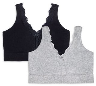 Fruit of the Loom Womens Cotton & Lace Wireless Bra FT842, 2-Pack