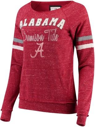 Colosseum Women's Heathered Crimson Alabama Crimson Tide Stormin The Castle Raw Edge Crewneck Sweatshirt