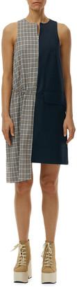 Tibi Sana Check Colorblock Sleeveless Dress
