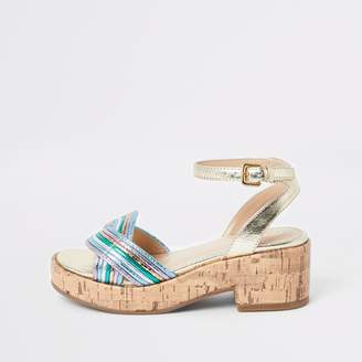 River Island Girls Gold metallic clumpy sandals