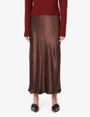 Vince High-waisted satin-crepe midi skirt