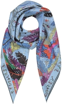 Emilio Pucci Light Blue Bermuda Print Silk Square Scarf