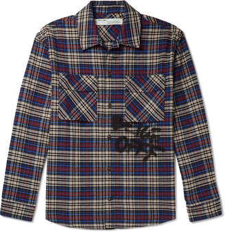 Off-White Off White Logo-Print Checked Cotton-Blend Flannel Shirt