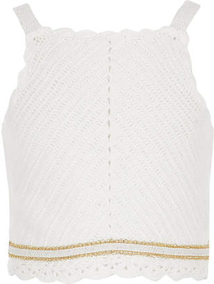 River Island Girls white crochet top