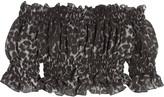 Norma Kamali Cropped smocked printed chiffon top