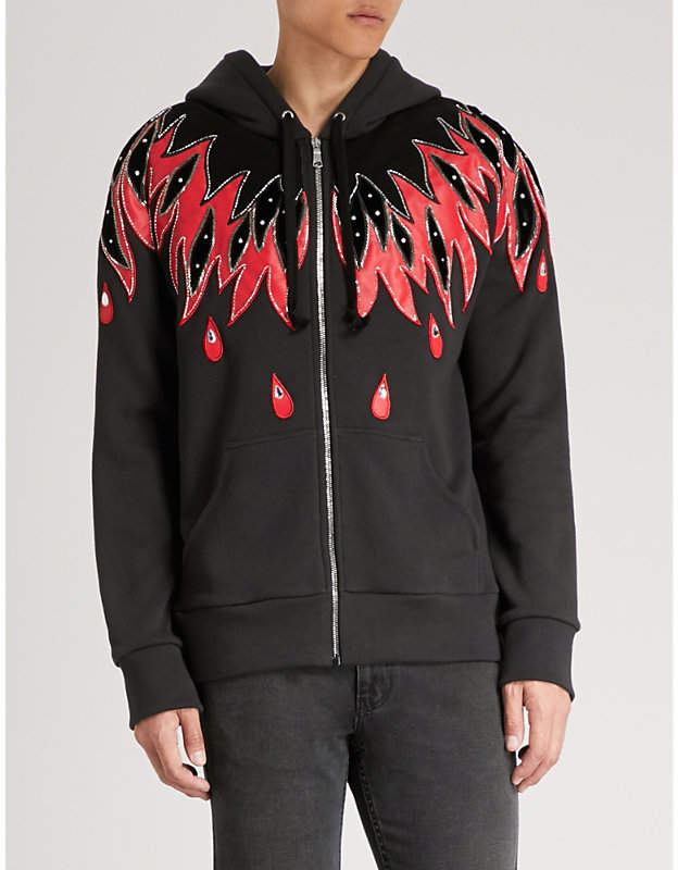 Gucci Flame-appliqué leather and cotton-jersey hoody