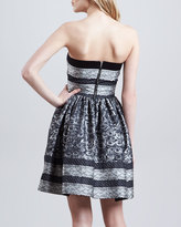 RED Valentino Floral Rose & Lace Printed Jacquard Strapless Dress