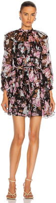 Zimmermann Charm Tiered Mini Dress in Black Base Floral | FWRD