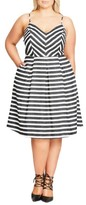 City Chic Plus Size Women's Marilyn Stripe Fit & Flare Sundress