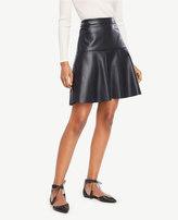 Ann Taylor Petite Faux Leather Flounce Skirt