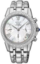 Seiko Le Grand Sport Womens Silver-Tone Mother-of-Pearl Diamond Chronograph Wat