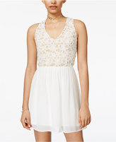 Trixxi Juniors' Lace Fit and Flare Dress