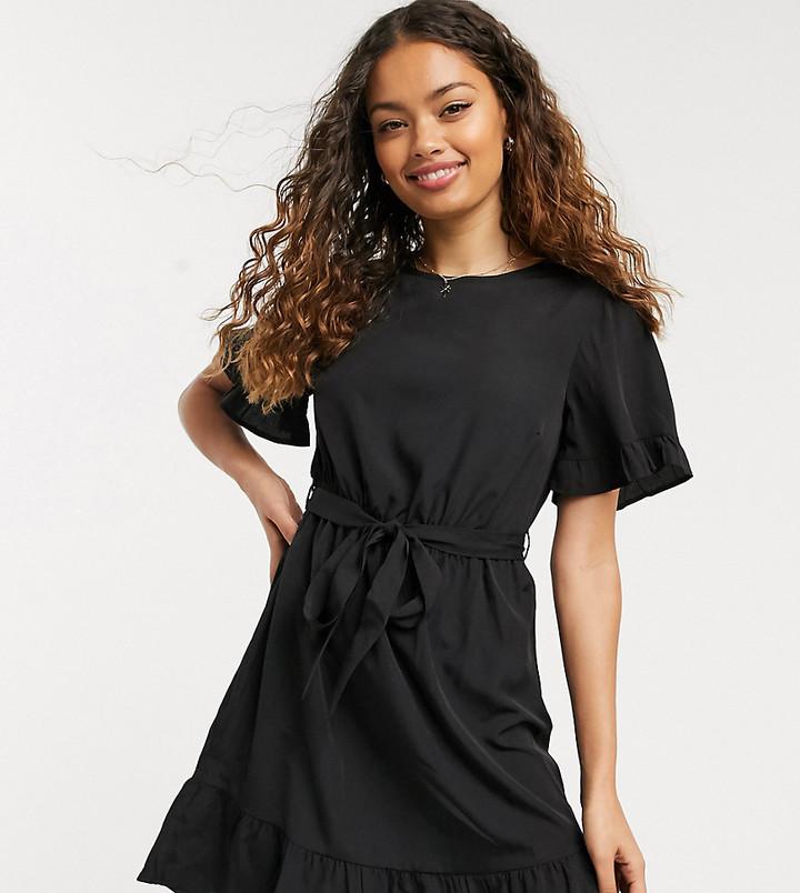 New Look Petite frill sleeve mini dress in black