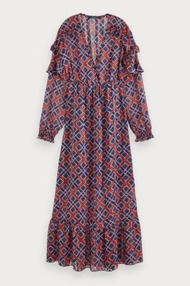 Maison Scotch Sheer Print Maxi Dress - Xsmall