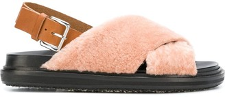 Marni shearling crisscross sandals