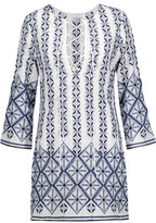 Miguelina Darla Lace-Up Embroidered Cotton-Broadcloth Coverup