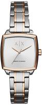 Armani Exchange AX5449 Women's Square Two Tone Bracelet Strap Watch, Silver/Rose Gold