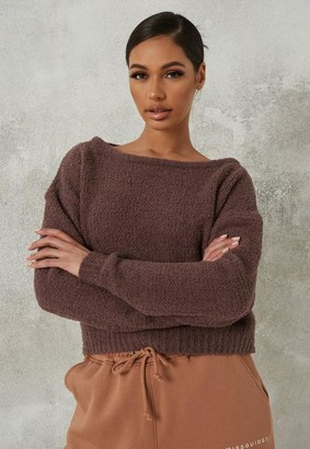 Missguided Petite Chocolate Popcorn Knit Off Shoulder Sweater