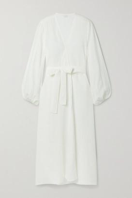 POUR LES FEMMES Belted Linen Wrap Dress - White