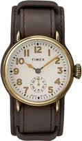 Timex R) Waterbury Welton Leather Cuff Watch, 38mm