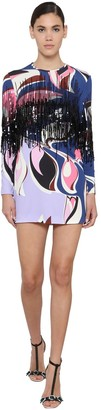 Emilio Pucci Printed Jersey Mini Dress W/ Fringe