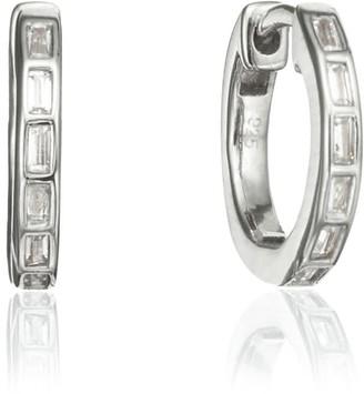 Lily & Roo Silver Diamond Style Baguette Medium Hoop Earrings