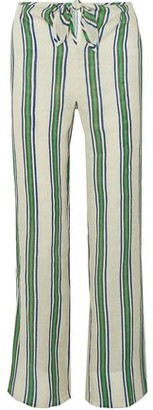 Tory Burch Awning Tie-front Striped Linen Wide-leg Pants