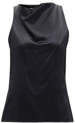 LA COLLECTION Pheadra Cowl-neck Silk-satin Blouse - Black