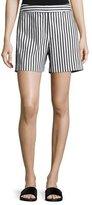 St. John Cabana-Stripe Denim Shorts, Bianco/Caviar