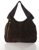 Sondra Roberts Brown Suede Fringe Detail Hobo Handbag
