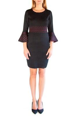 Nina Leonard Scalloped Jewel Neck Bell Sleeve Sweater Dress