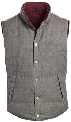 Brunello Cucinelli Chevron Reversible Padded Wool Cashmere Vest