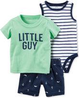 Carter's 3-Pc. Cotton T-Shirt, Bodysuit & Shorts Set, Baby Boys (0-24 Months)