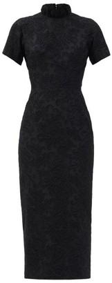 Emilia Wickstead Edie High-neck Floral-applique Cotton-blend Dress - Black