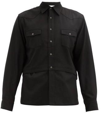 SASQUATCHfabrix. Western Layered Crepe Shirt - Black