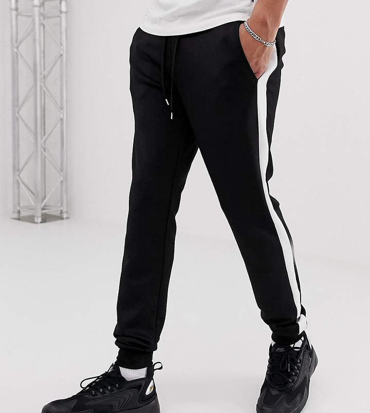 9bee6775 Design DESIGN Tall skinny sweatpants in poly tricot with side stripe in  black